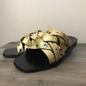Rag and Bone Hartley Gold Leather Slides Sandals 9